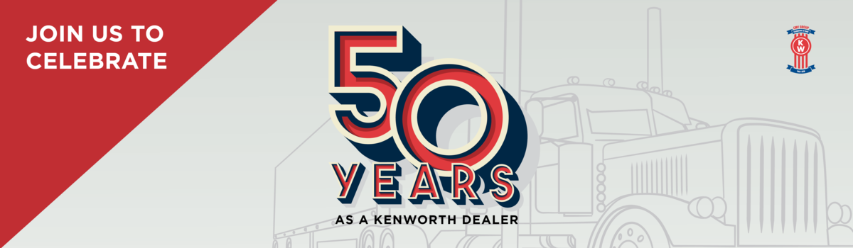 Join us to celebrate 50 Years of Kenworth at CMV Truck Sales! Large Image