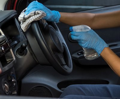 Steering wheel being disinfected image