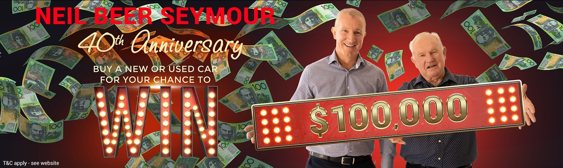 Neil Beer Seymour 40th Anniversary $100,0000 Giveaway