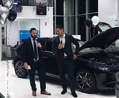 Alex Glenn and Luke Camilleri at the Next-Gen Mazda3 Launch image