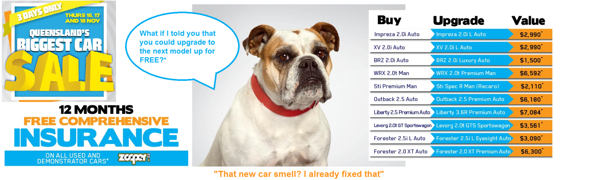 Qld's Biggest Car Sale - FREE Upgrade Offer*