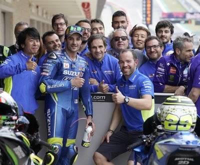 Iannone MotoGP Suzuki Rossi Marquez Podium Rins Texas The Americas Vinales image