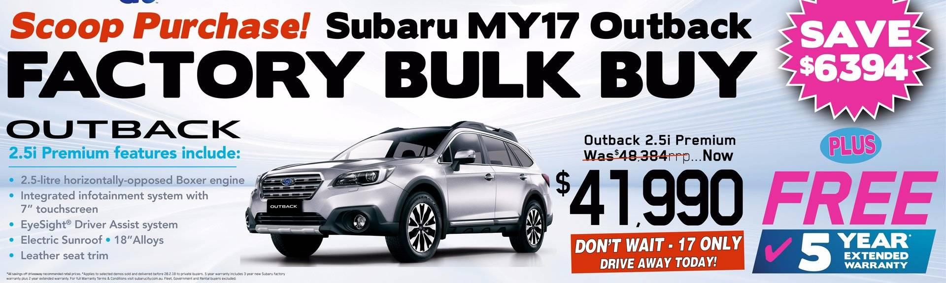 BULK Outback 2.5i Premium purchase