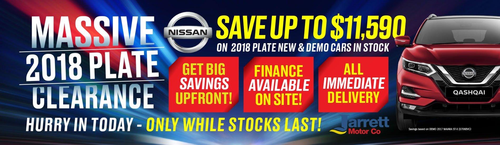 Jarrett Nissan 2018 Plate Clearance-New & Demo Stock