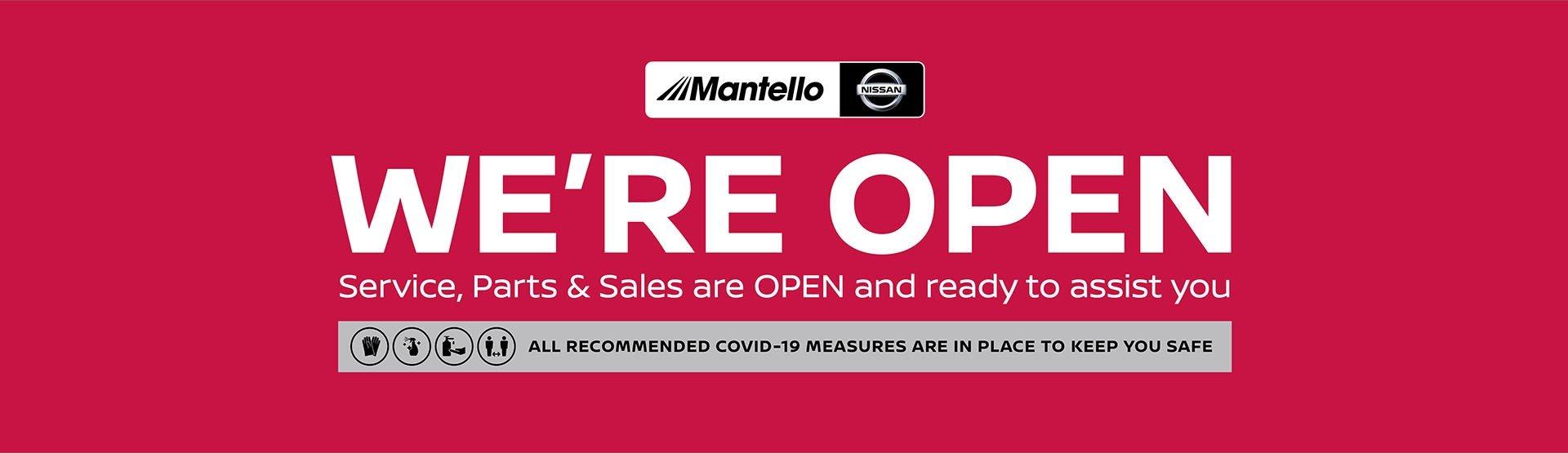 Mantello Nissan - We're Open