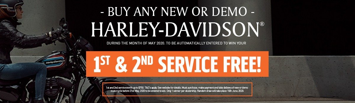 Buy any New or Demo H-D® during May & be entered to WIN your 1st & 2nd service FREE. Large Image