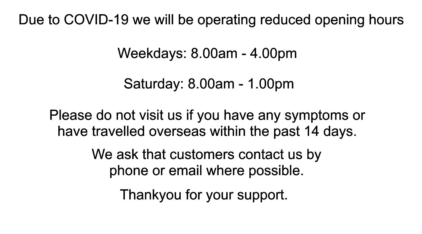 COVID-19 message. Reduced opening hours.