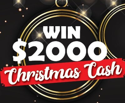 Win $2000 Christmas cash written on black sparkly background image