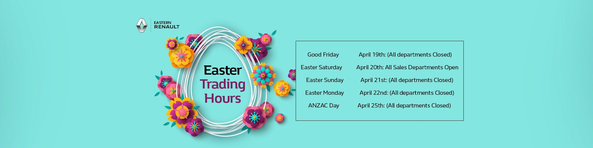 Easter & Anzac Day Trading Hours
