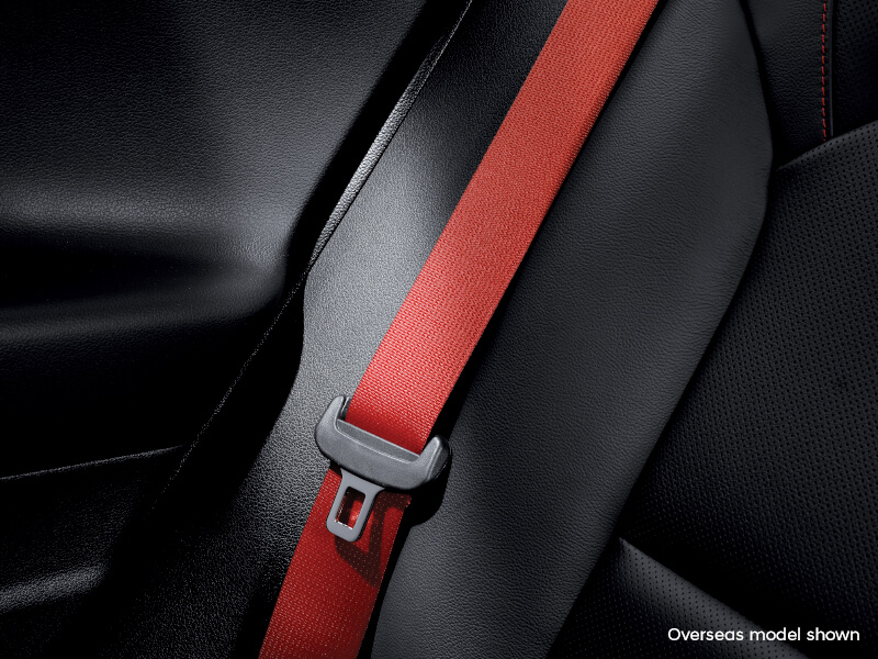 Red seat belt.