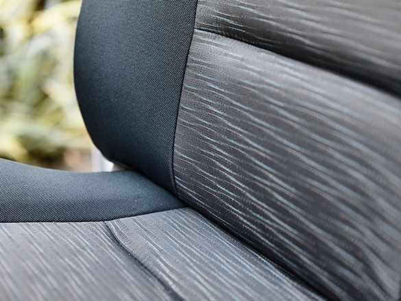 Woven cloth two-tone grey seats.