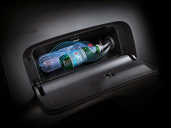 Dual glove box with cooling in upper compartment.