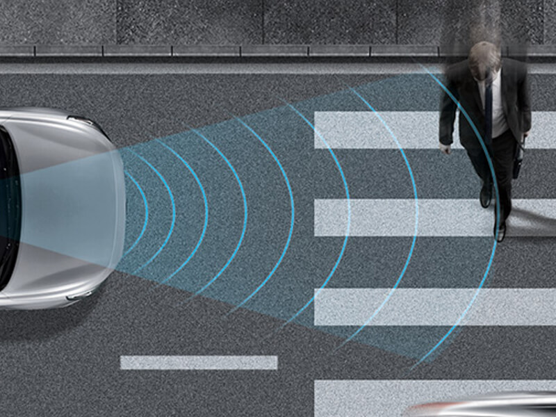 Autonomous Emergency Braking (AEB) with pedestrian detection and Forward Collision Warning (FCW).
