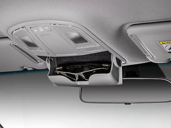 Retractable sunglasses compartment.