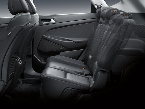 Multi-adjustable reclining rear seats.