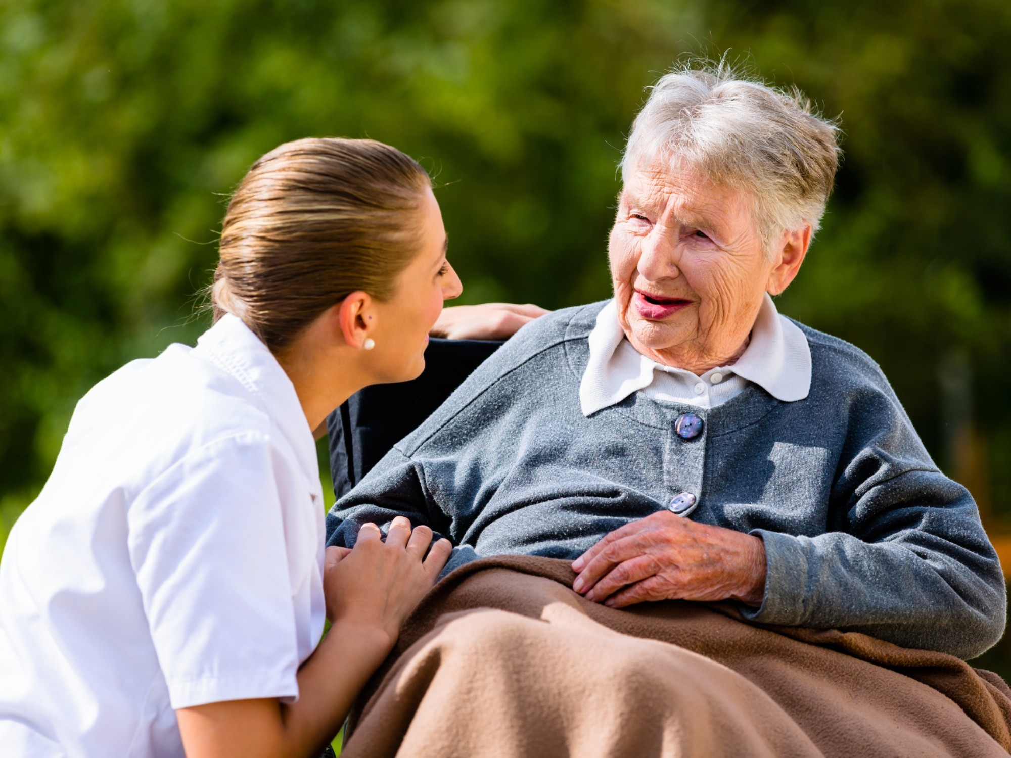 Older woman with her home care support worker