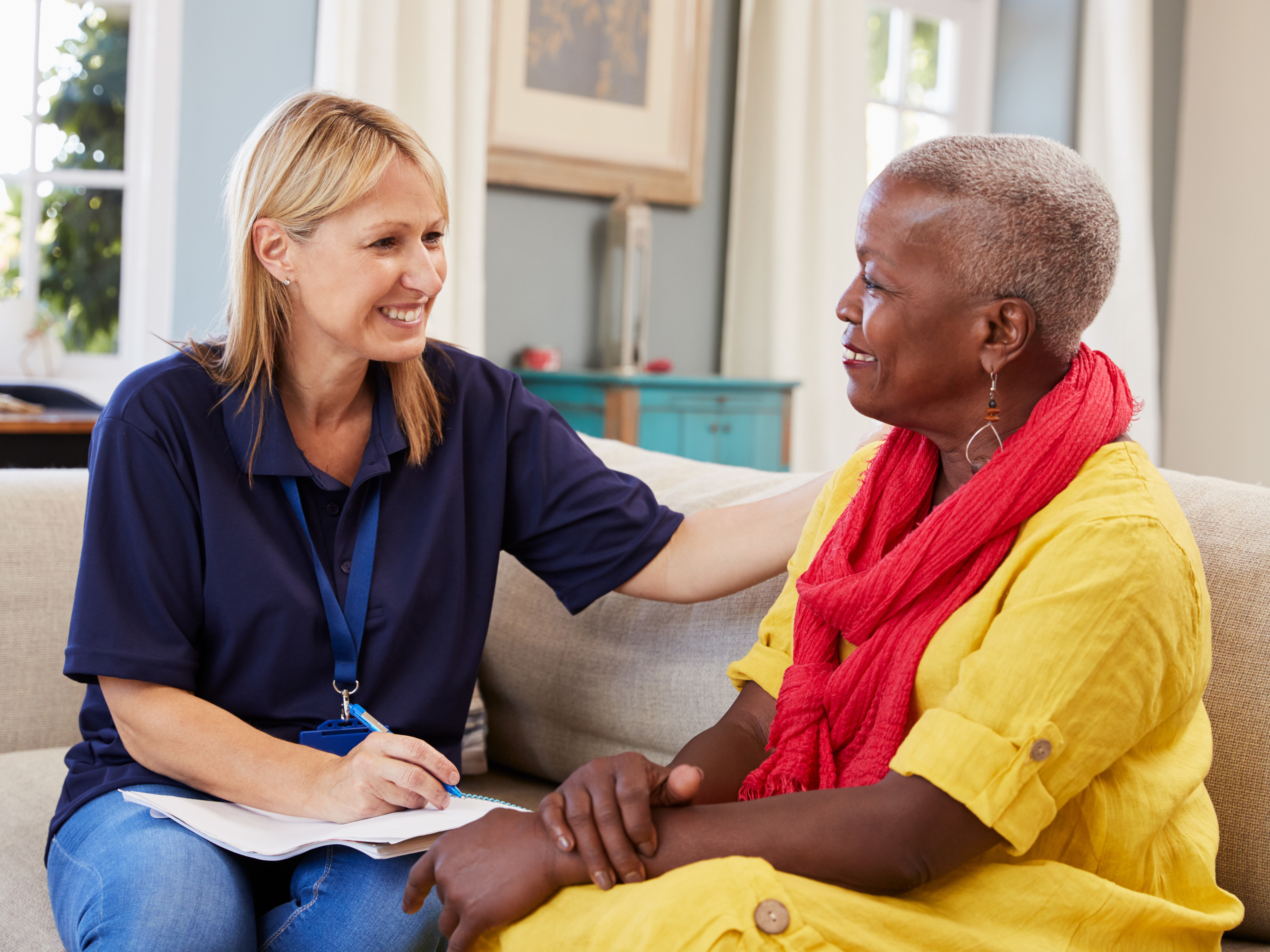 Older woman with a mental health specialist.