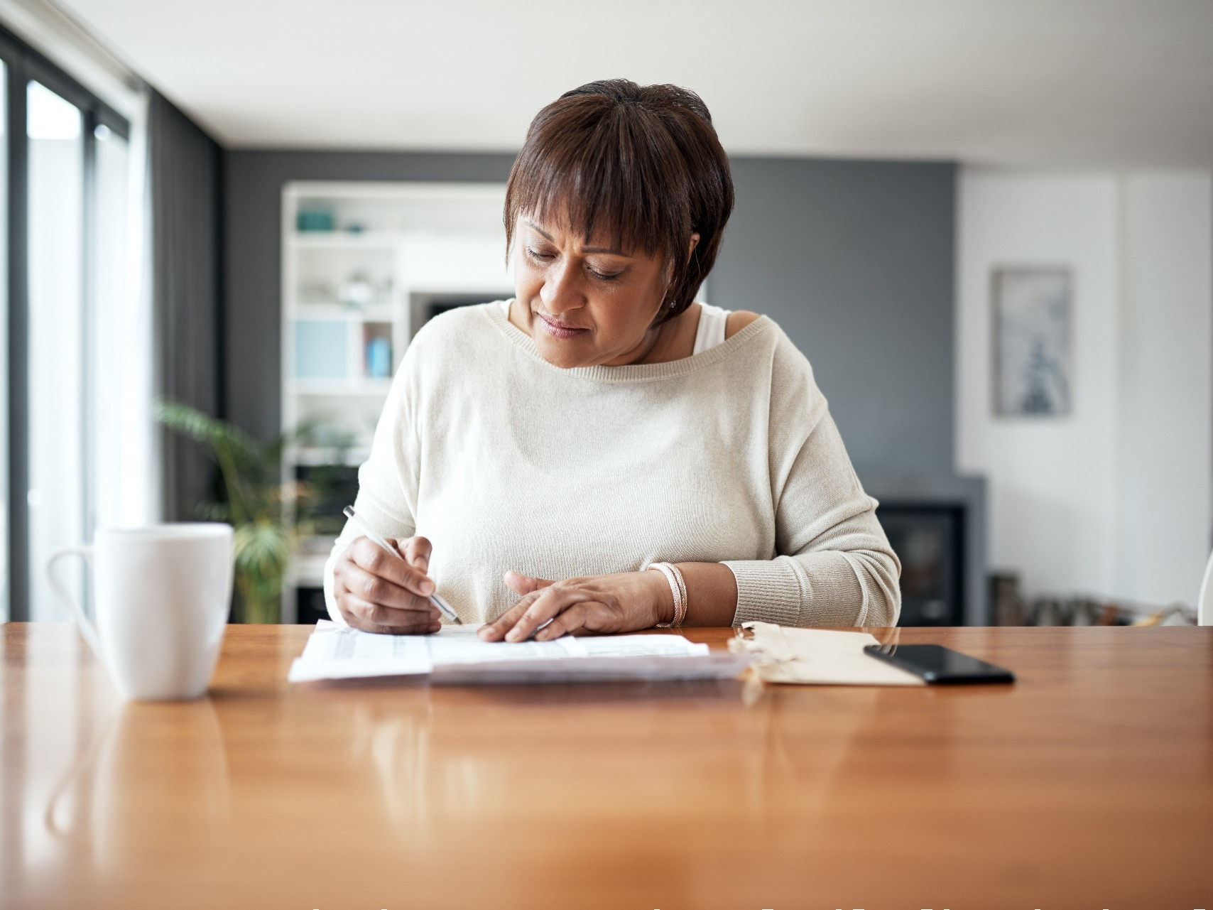 Older woman organising her Home Care Package