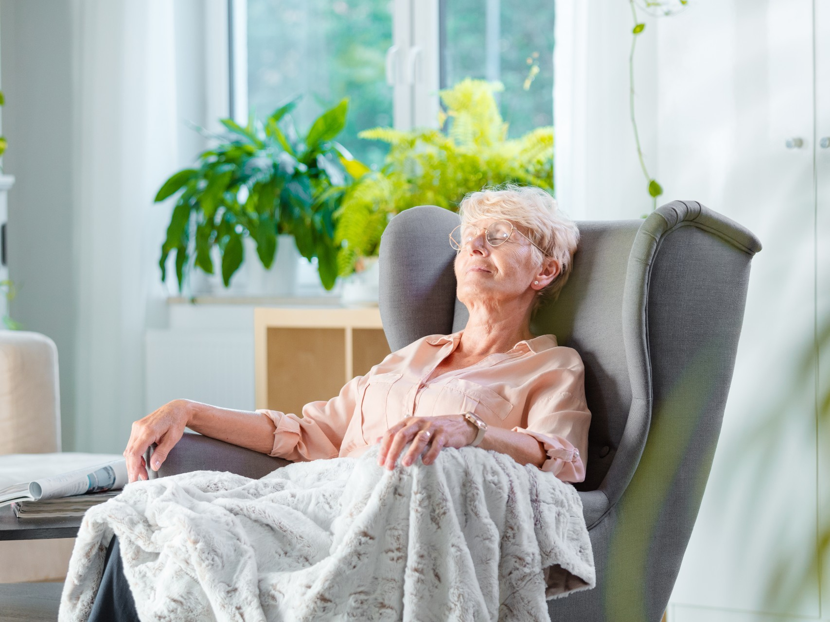 Woman relaxing during her respite