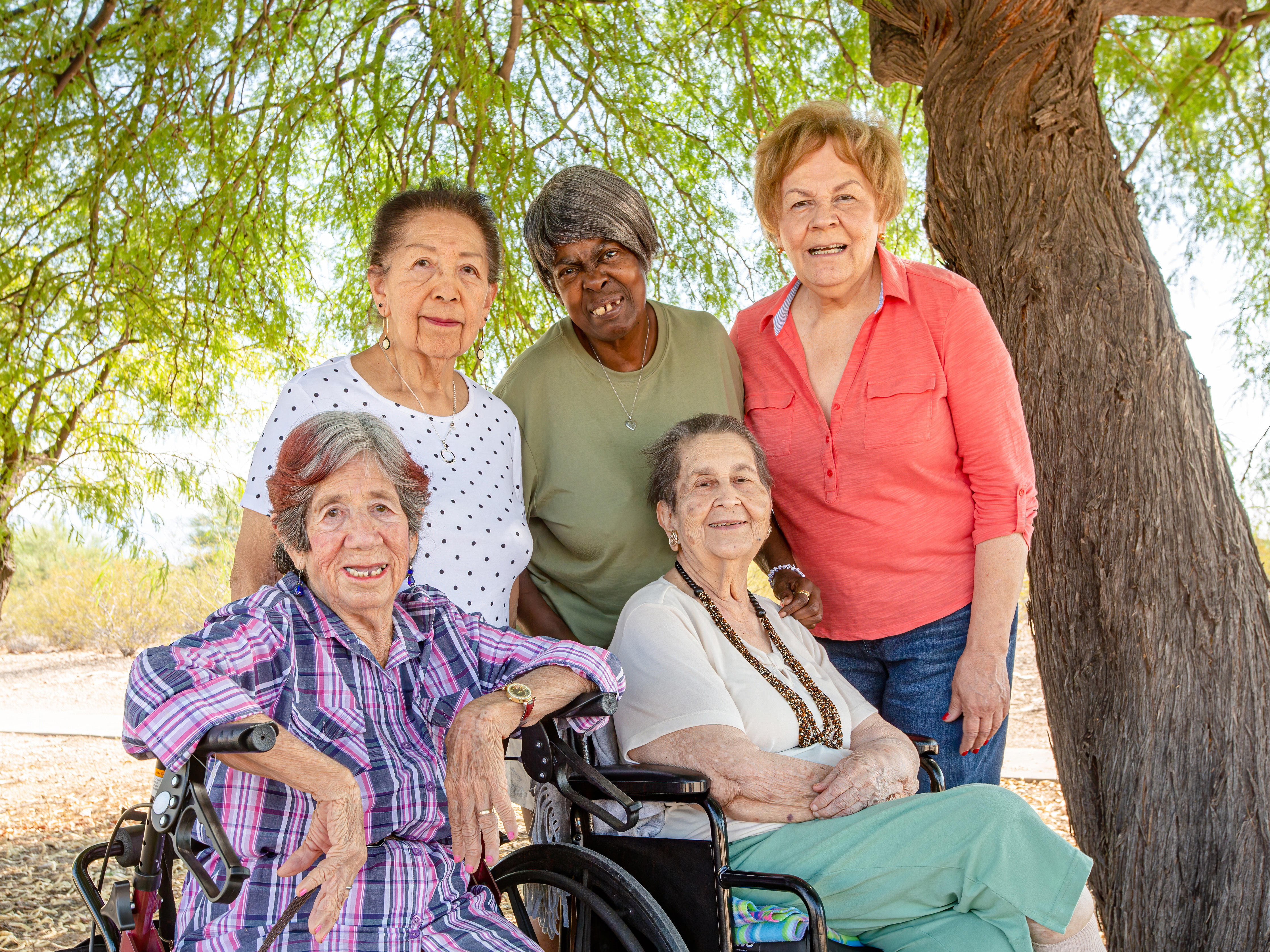 A group of diverse older people.