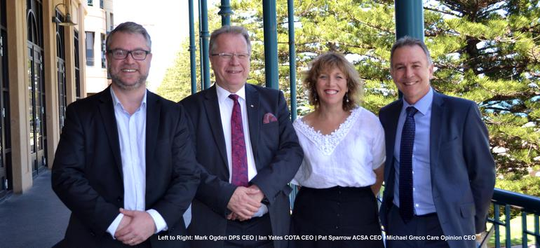DPS CEO Mark Ogden with COTA CEO Ian Yates, ACSA CEO Pat Sparrow and Care Opinion CEO Michael Greco at the NACA Meeting in Adelaide (Source: DPS)
