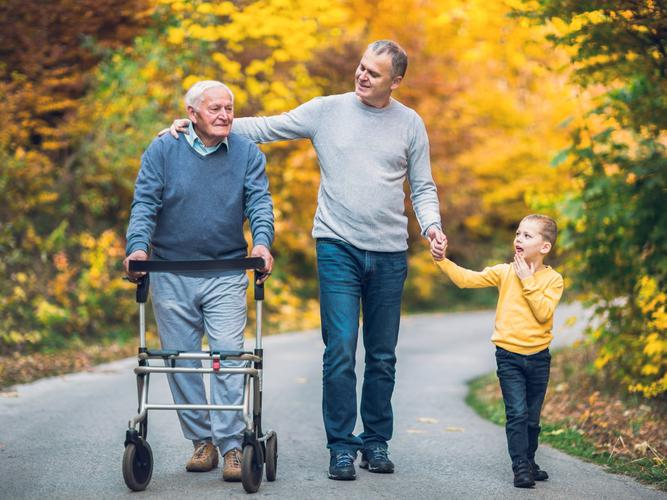 Older man with his father and his grandchild
