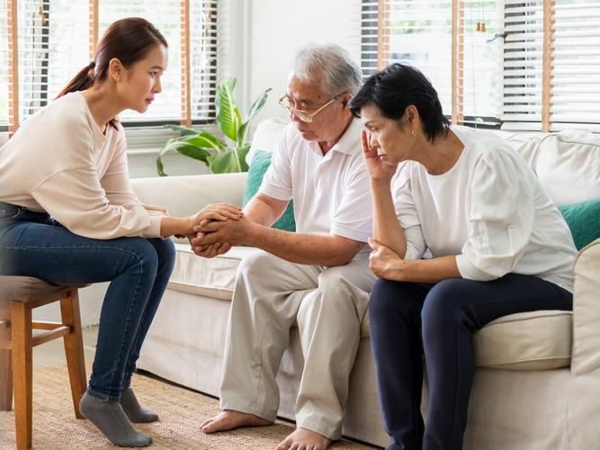 Family discuss aged care options