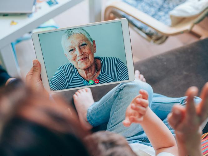 Older person on a video call with family