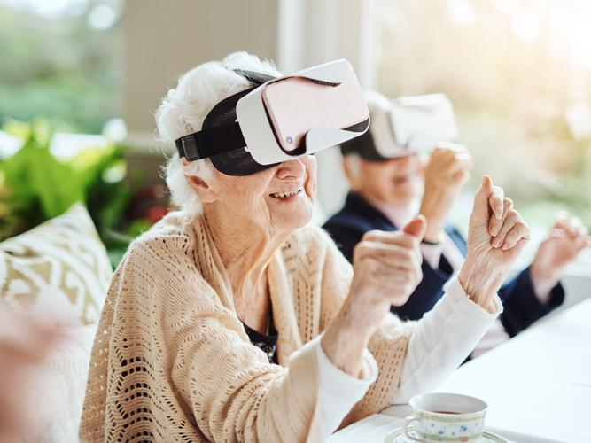 Older women trying out virtual reality