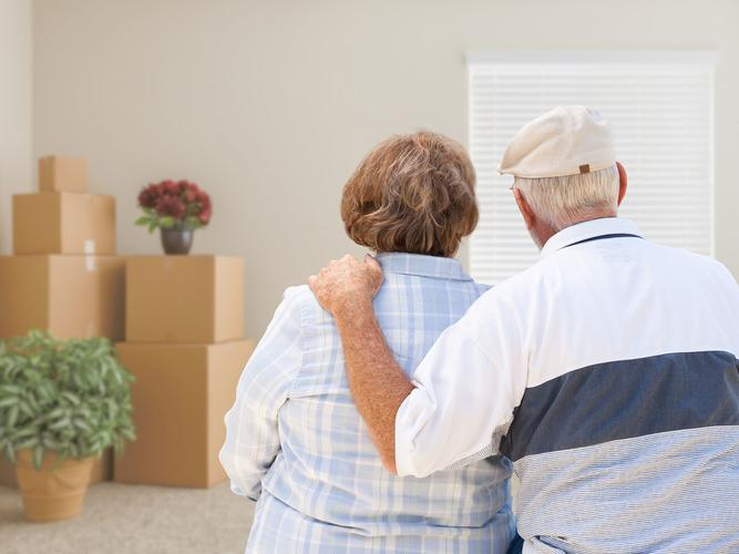 Older couple moving from their home