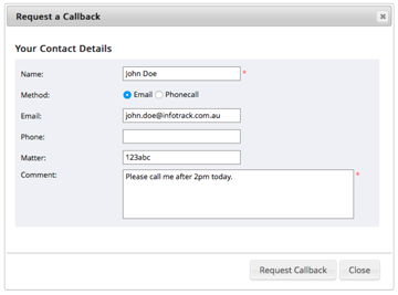 Screenshot of requesting a call back
