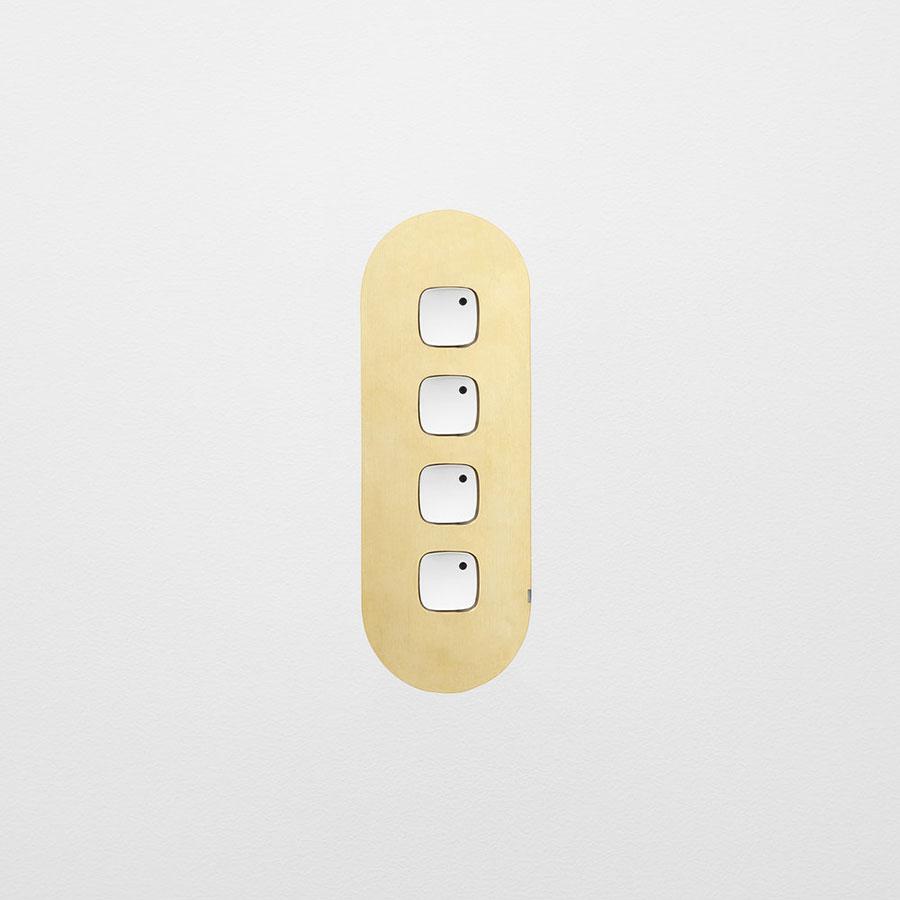 4 gang switch brass whitebuttons white board horizontal hero