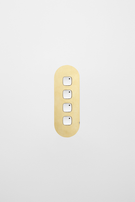 4 gang switch brass whitebuttons white board horizontal