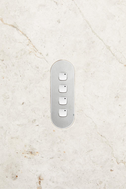 4 gang switch steel whitebuttons stone light horizontal
