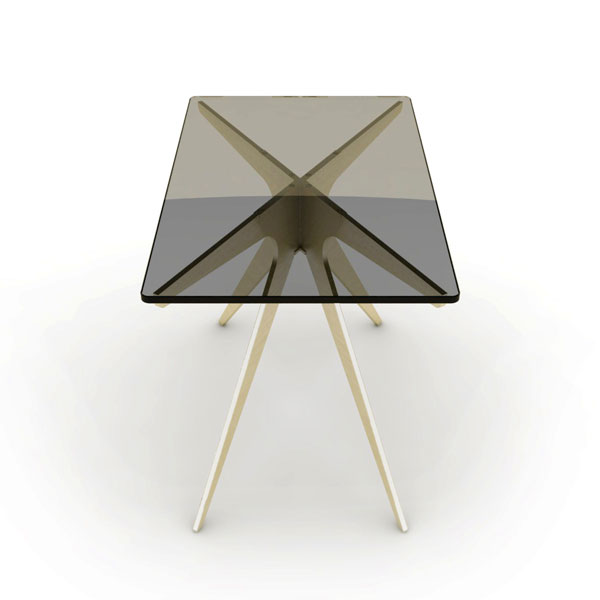 Dean rectangular side table   brass  smoked 2 thumb