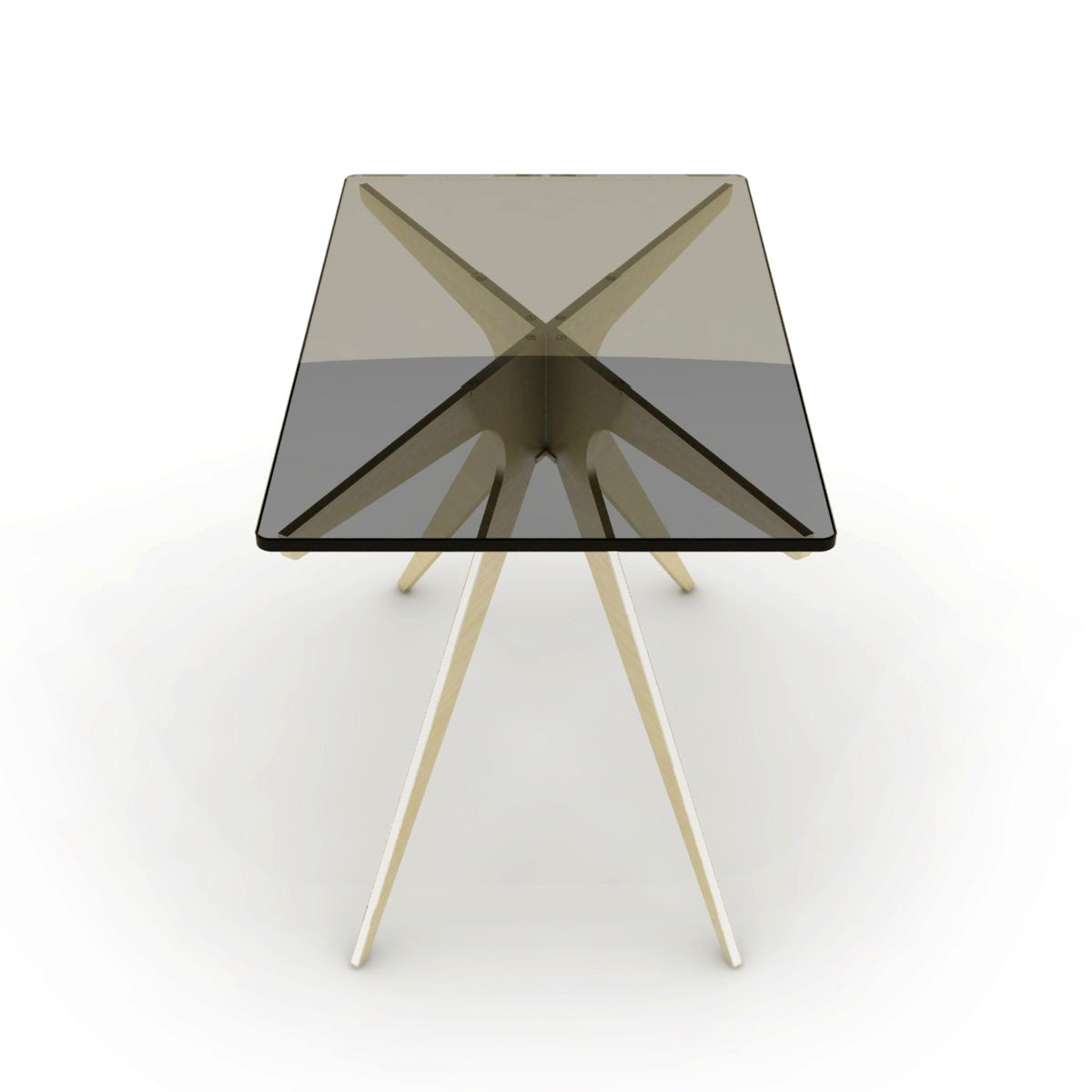 Dean rectangular side table   brass  smoked 2