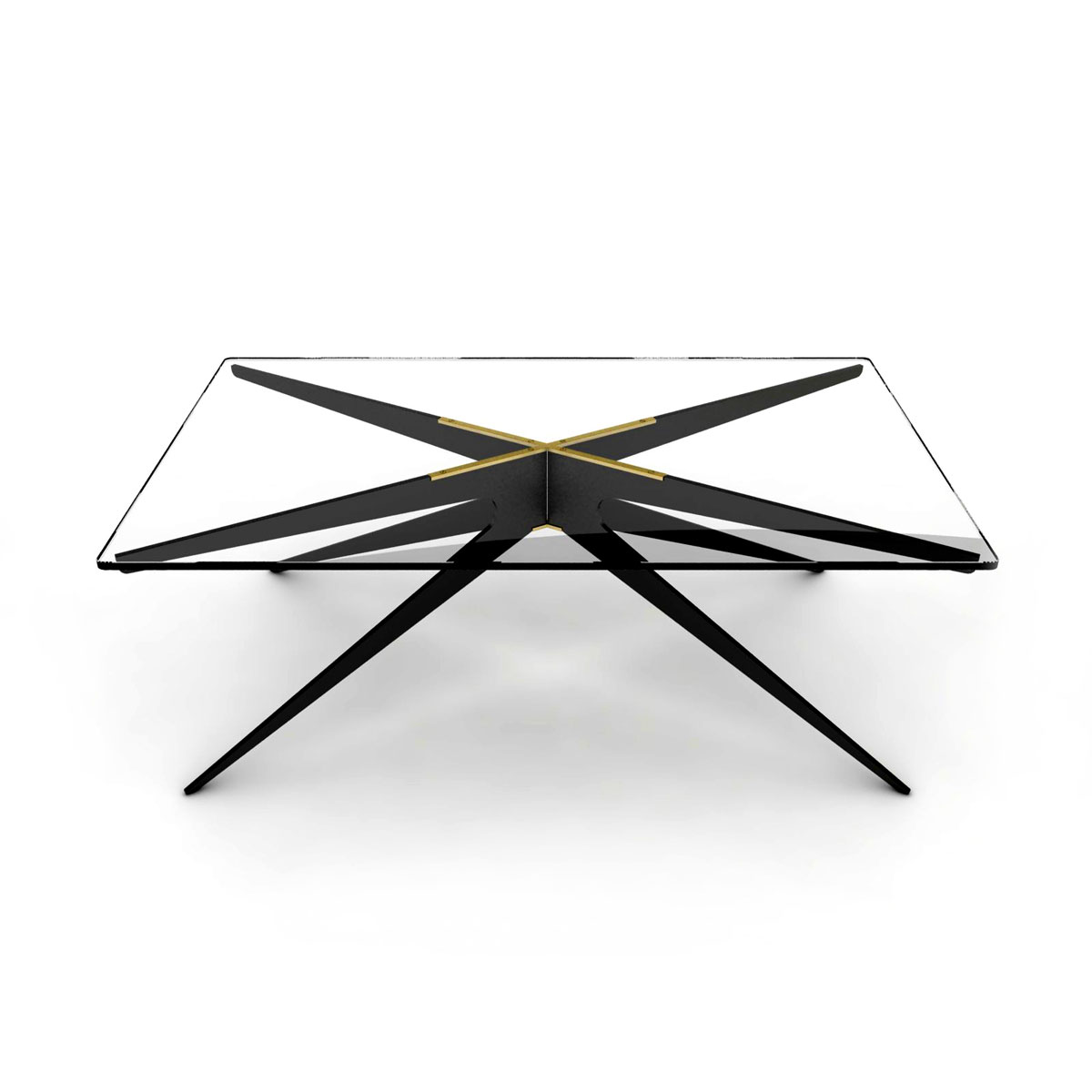 Dean rectnagular coffee table   black  clear