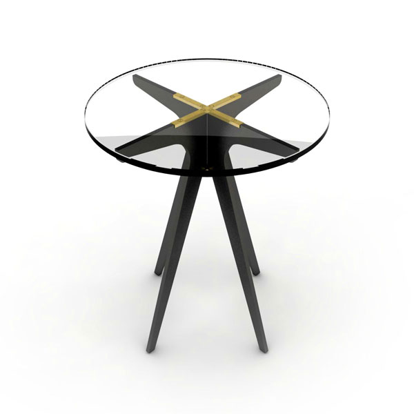 Dean round side table   black  clear thumb