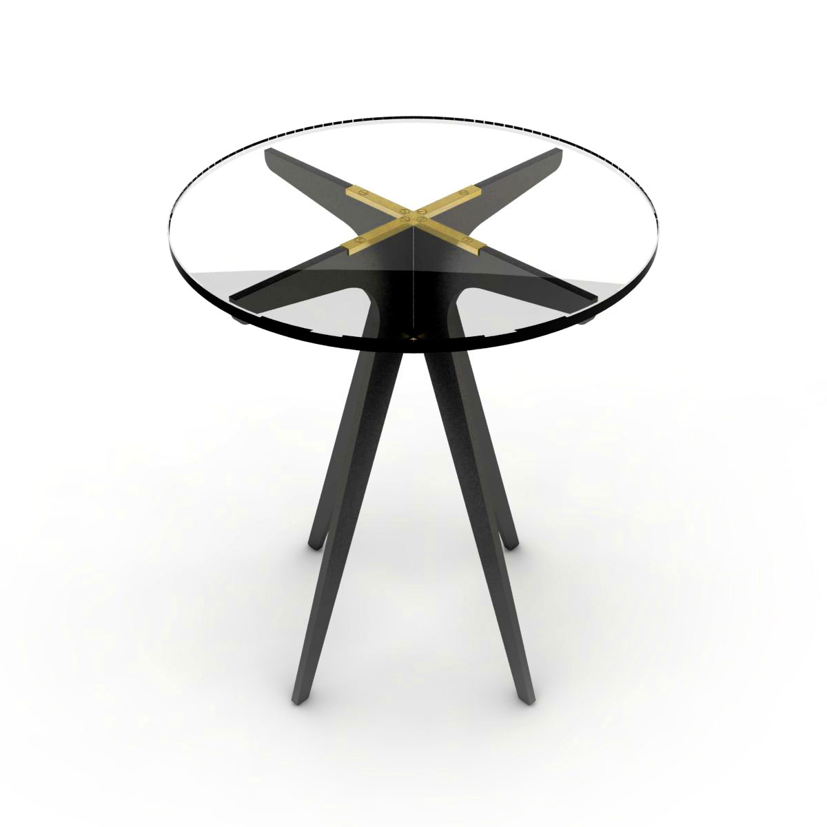 Dean round side table   black  clear