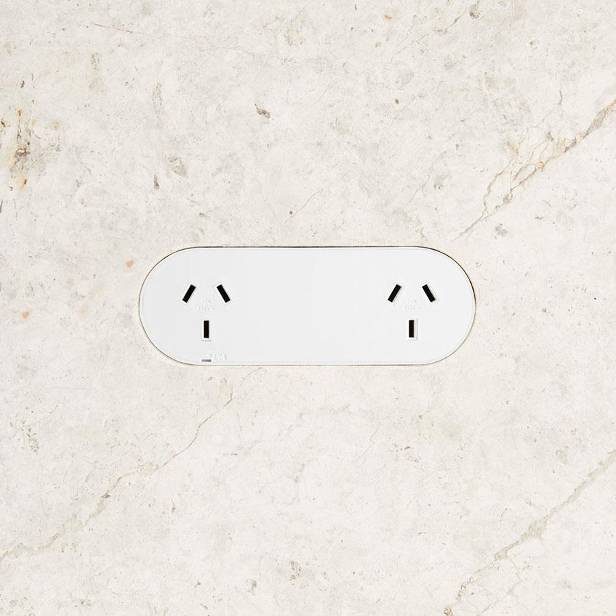 Double outlet white stone lighthero