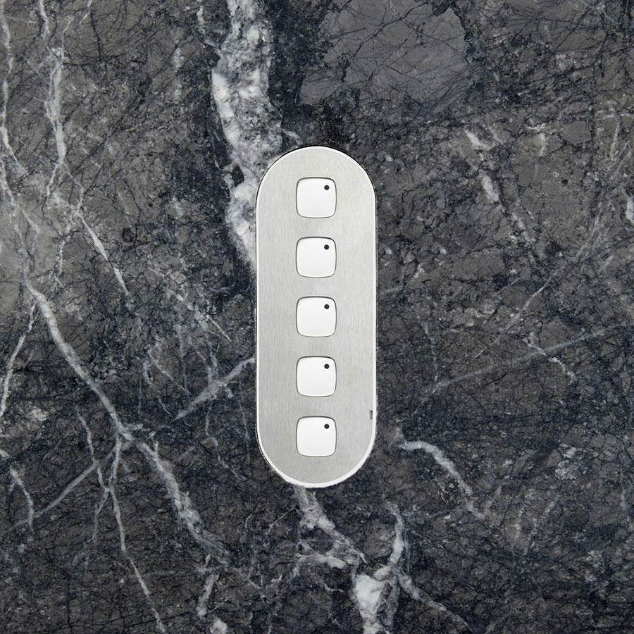 Five gang switch stainless steel white button stone dark hero