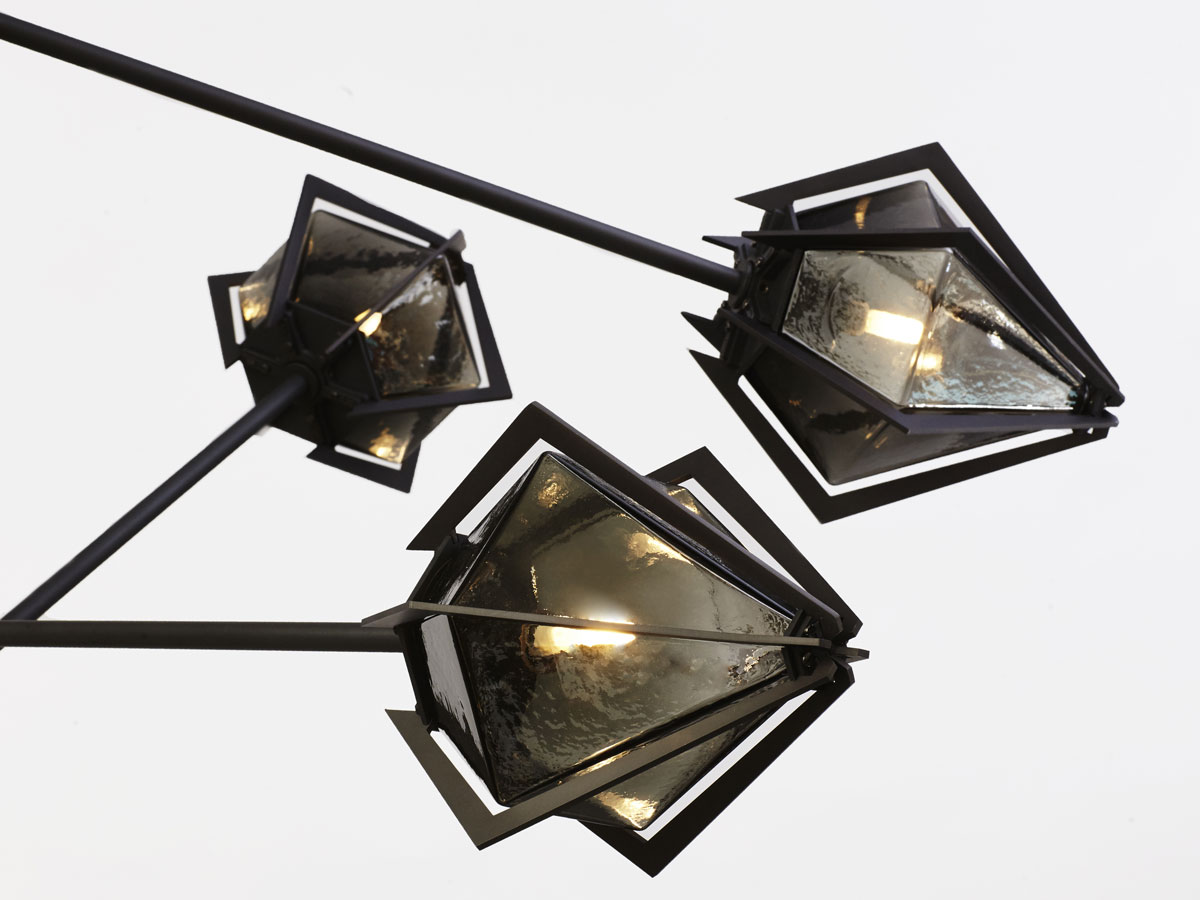 Harlow spoke chandelier   black  smoked up close