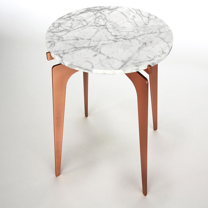 Prong side table   copper   white