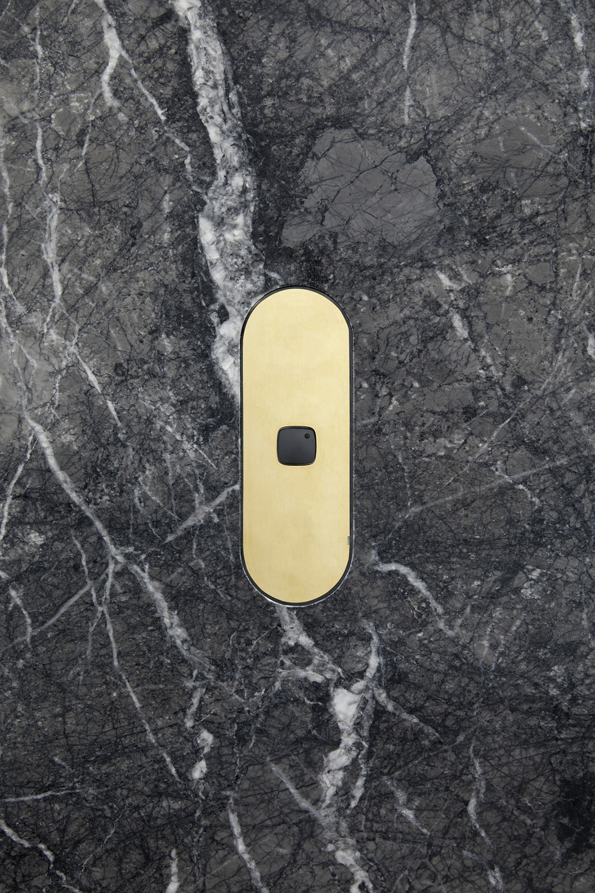 Single gang switch brass black button stone dark