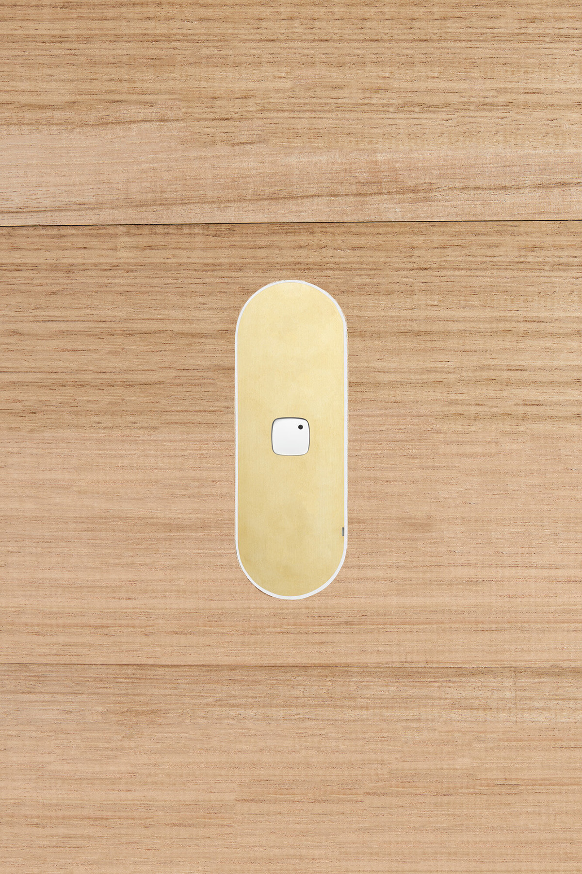 Single gang switch brass white button timber