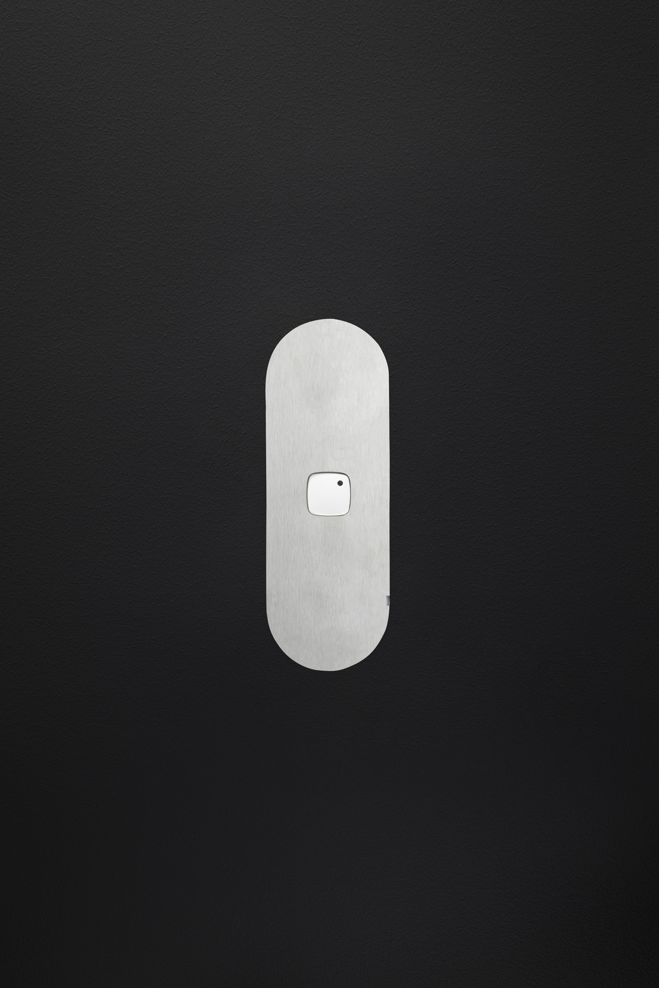 Single gang switch stainless steel white button black board