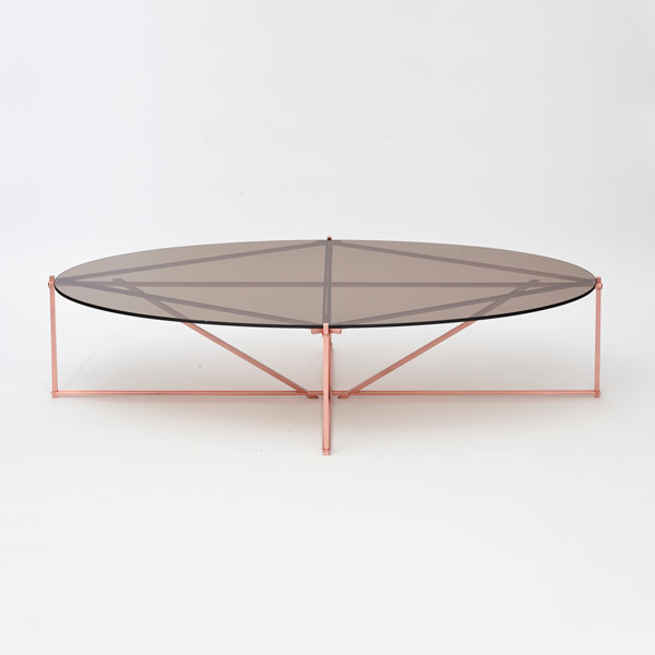 Tensegrity oval coffee table   copper bronzed thumb