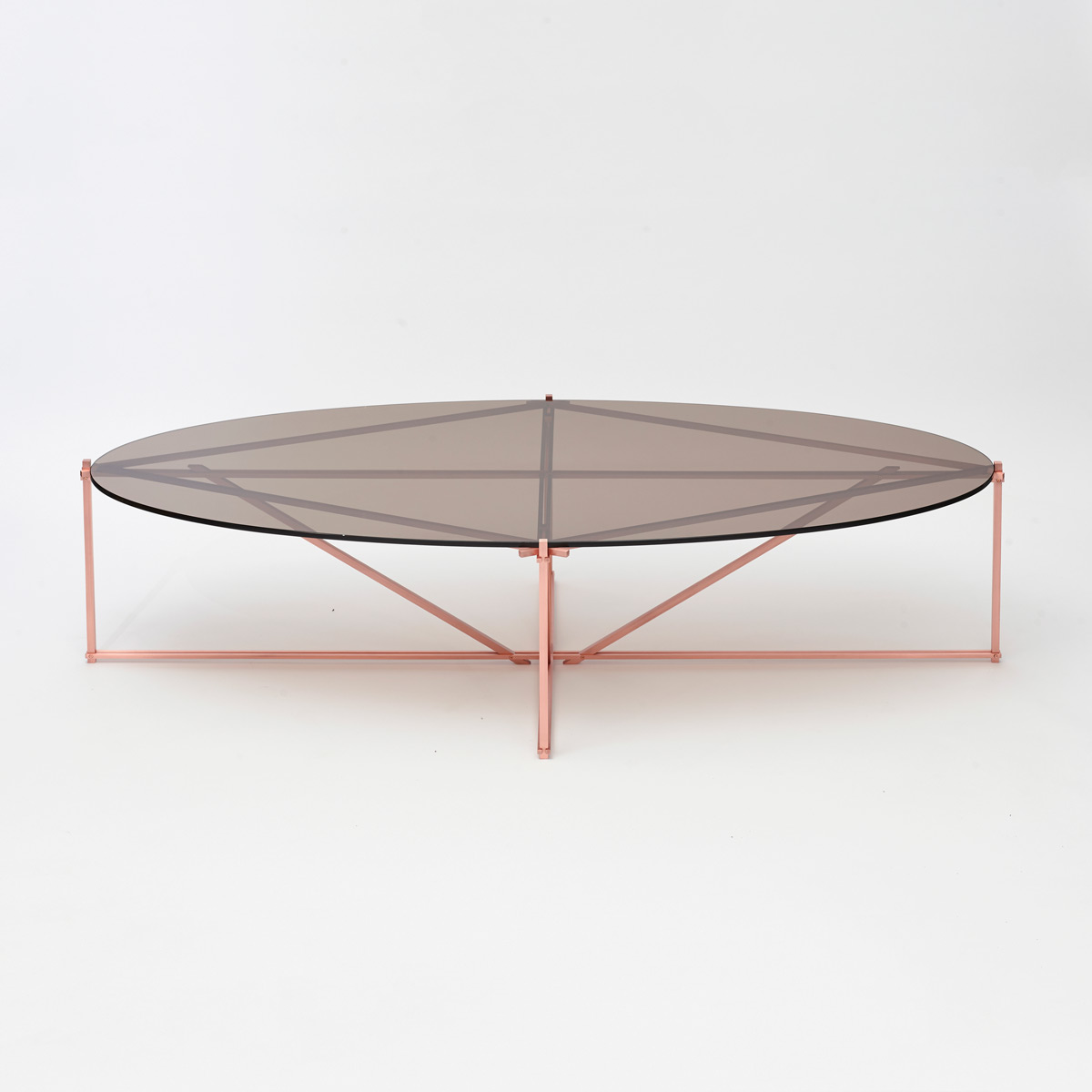 Tensegrity oval coffee table   copper bronzed