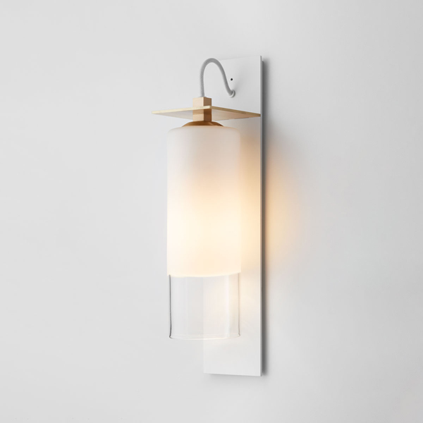 Thumb articolo lighting eclipse wall sconce short white clear matte white brass shelf white flex on