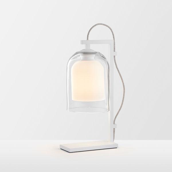 Thumb articolo lighting lumi table lamp clear white matte white natural linen flex on
